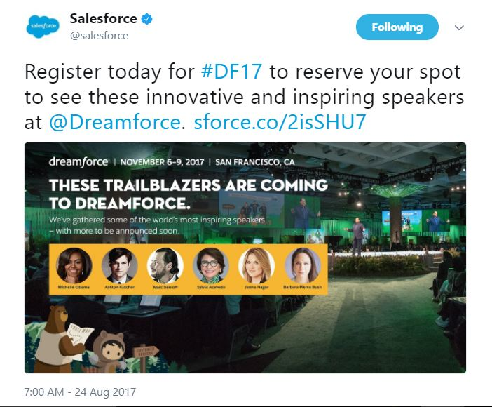 Speakers for Dreamforce 2017